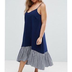 ASOS Blue Gingham Hem Sleeveless Midi Dress